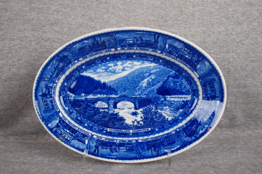 "505: B&ORR railroad china oval platter,""Cumberland Narr"
