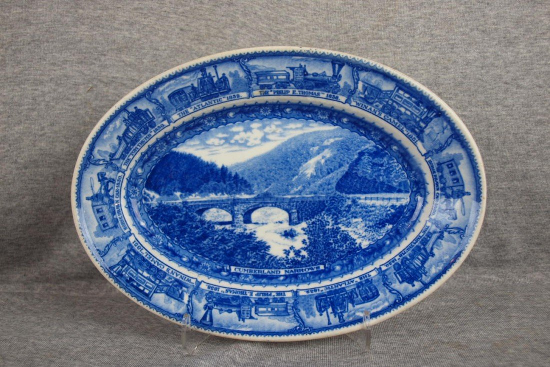 "506: B&ORR railroad china oval platter,""Cumberland Narr"