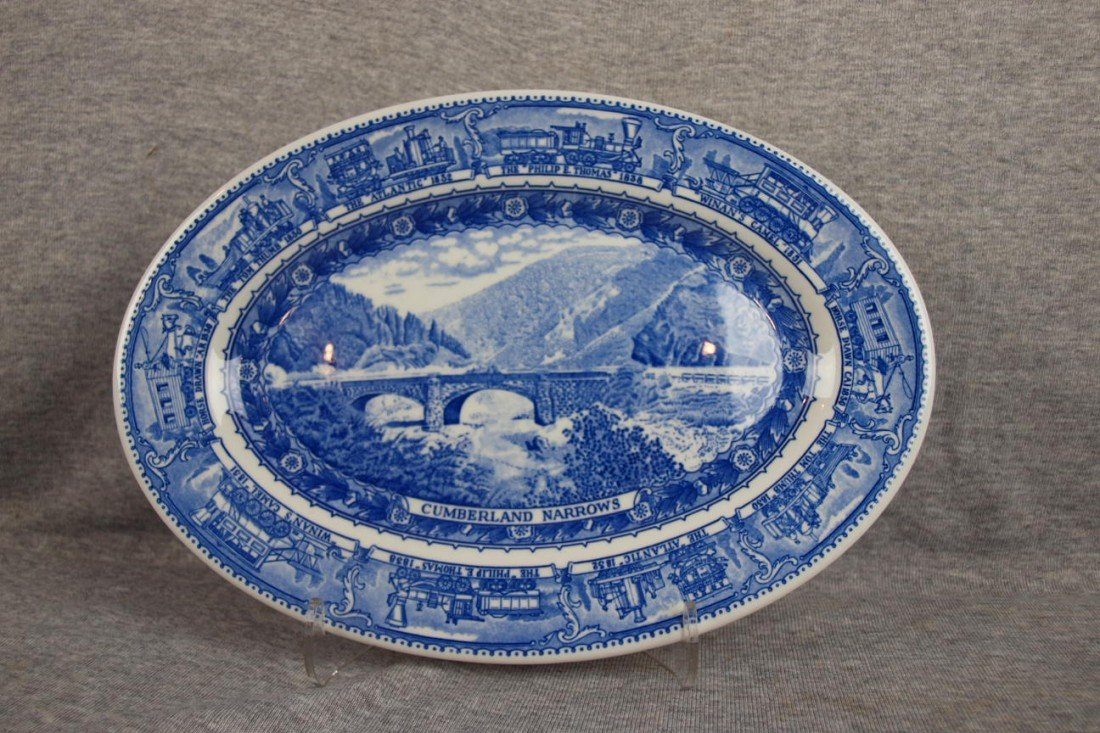 "508: B&ORR railroad china oval platter,""Cumberland Narr"