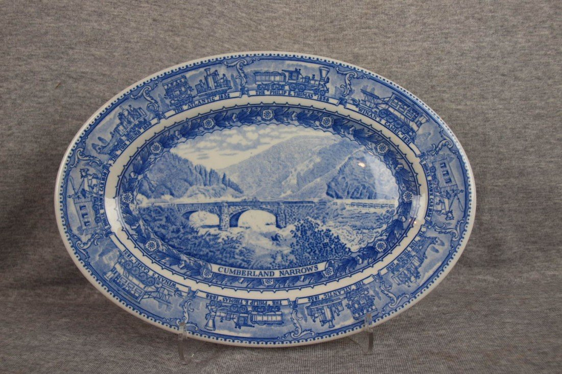 "510: B&ORR railroad china oval platter,""Cumberland Narr"