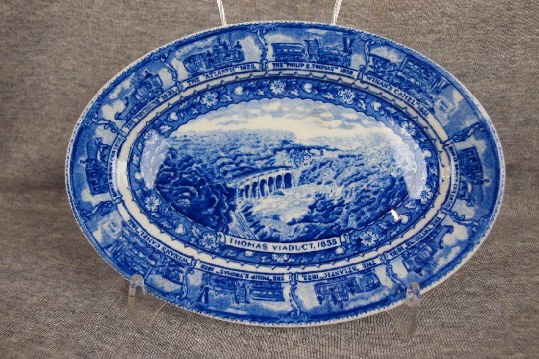 "513: B&ORR railroad china oval platter, ""Thomas Viaduct"