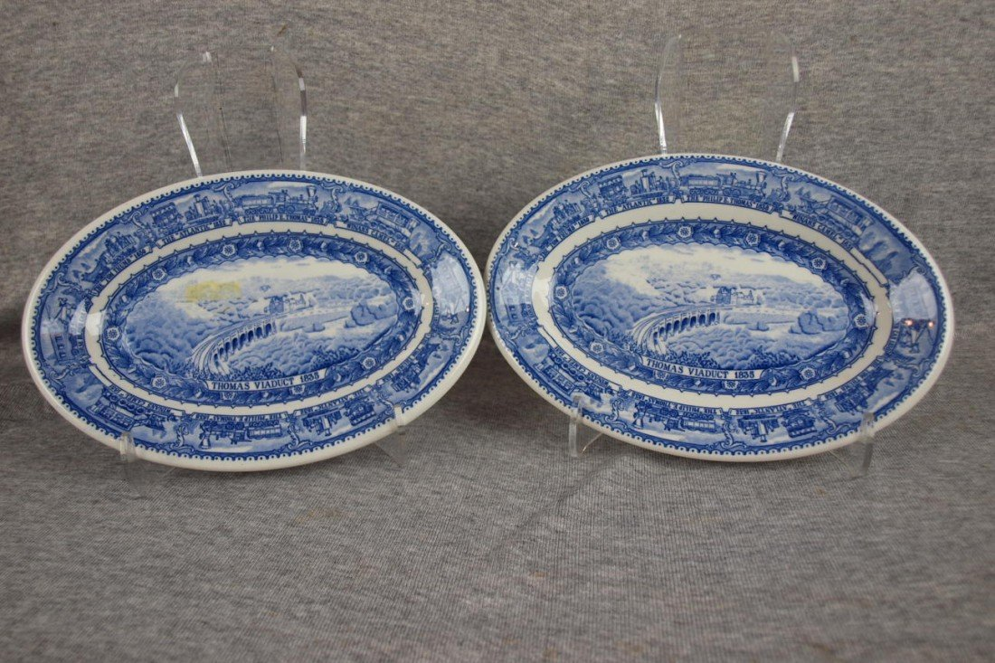 "515: 2 B&ORR railroad china platters, ""Thomas Viaduct"","