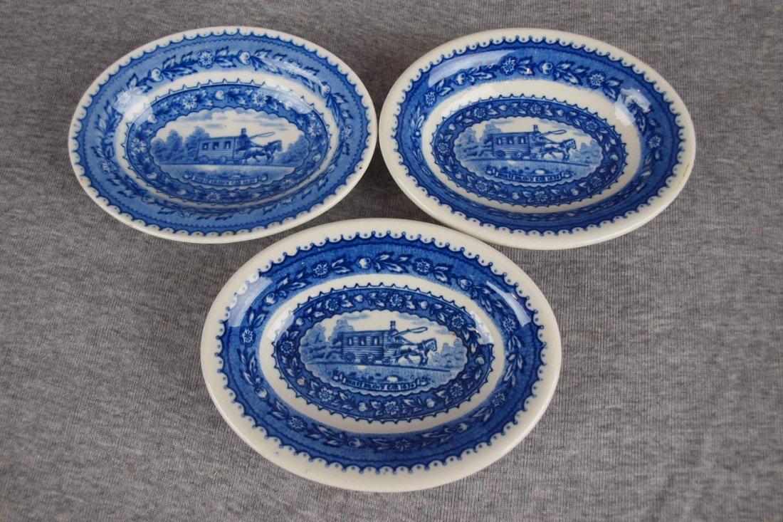 516: 3 B&ORR railroad china small oval bowls, Lamberton