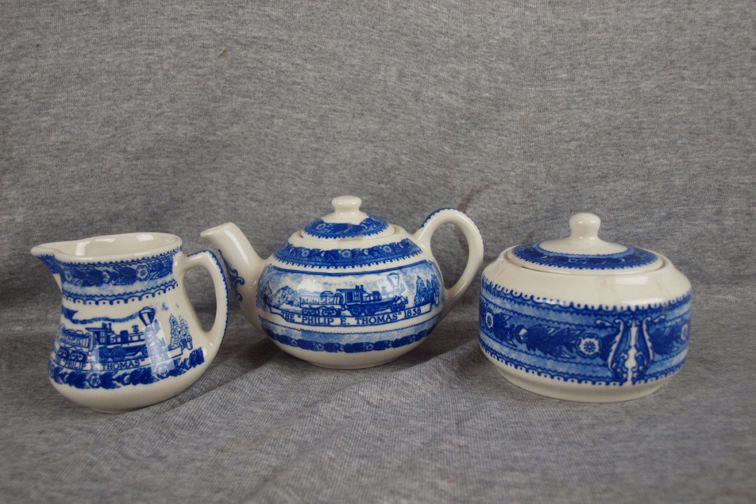 520: B&ORR railroad china 3 piece teaset, Museum Collec