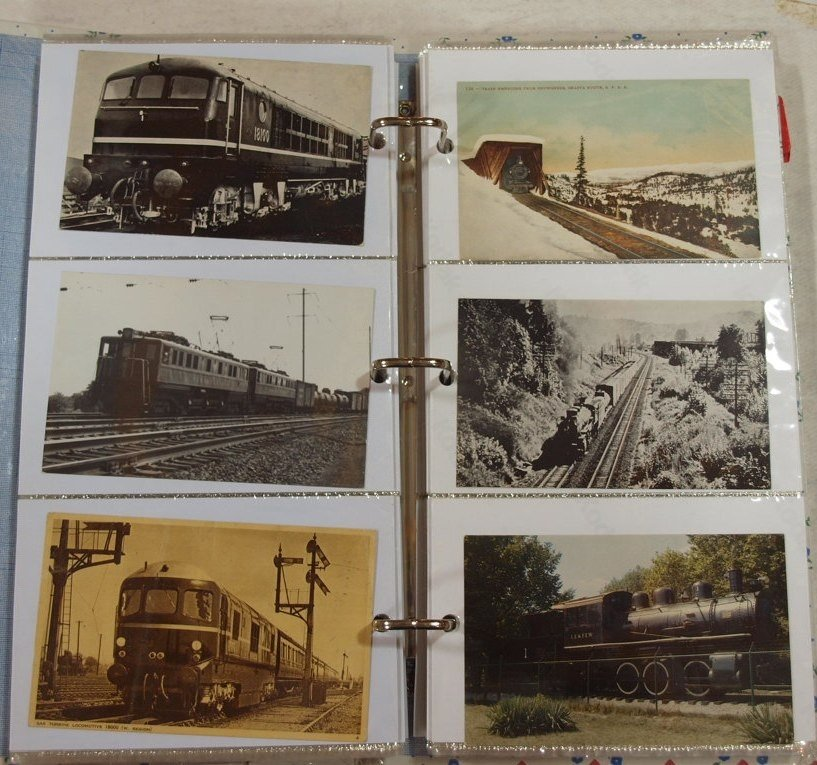 1041: Postcard album with 300+/- railroad and train pos