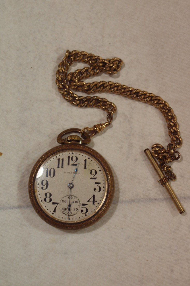 1048: Waltham railroad pocket watch and chain