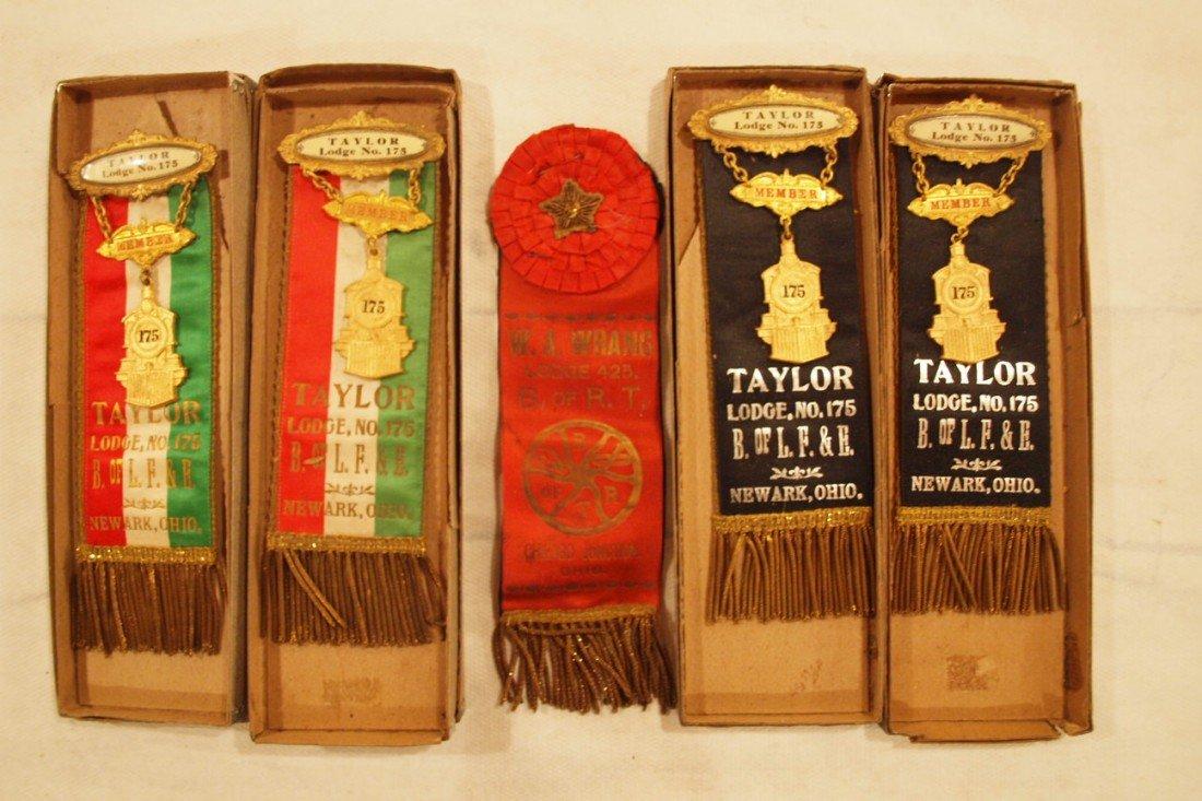 2:  Lot of 5 railroad Brotherhood ribbons - 4 Taylor Lo
