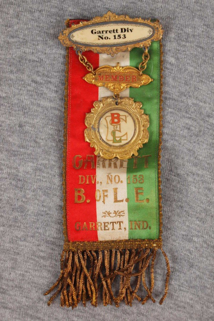 3:  Railroad Brotherhood ribbon, Garrett, Ind Lodge 153