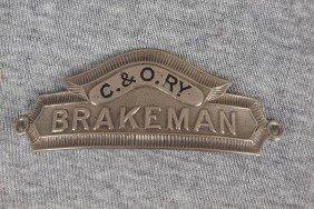 "C&ORY Railroad Hat Badge ""Brakeman"""