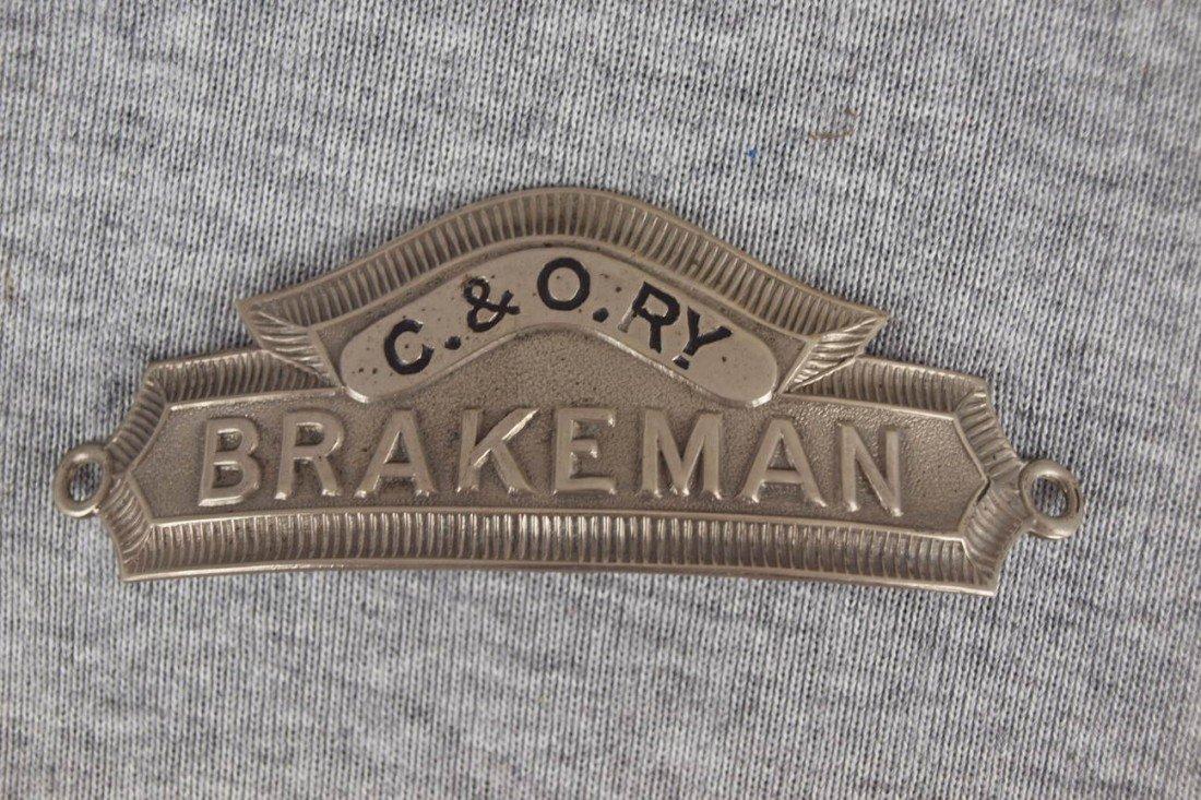"7:  C&ORY railroad hat badge ""Brakeman"""