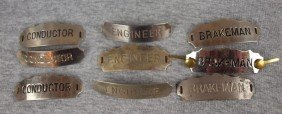 "Lot Of 9 Railroad Hat Badges - 3 ""Conductor"", 3 ""E"