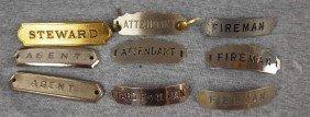 "11:  Lot of 9 railroad hat badges - ""Steware"", 2 ""Agent"