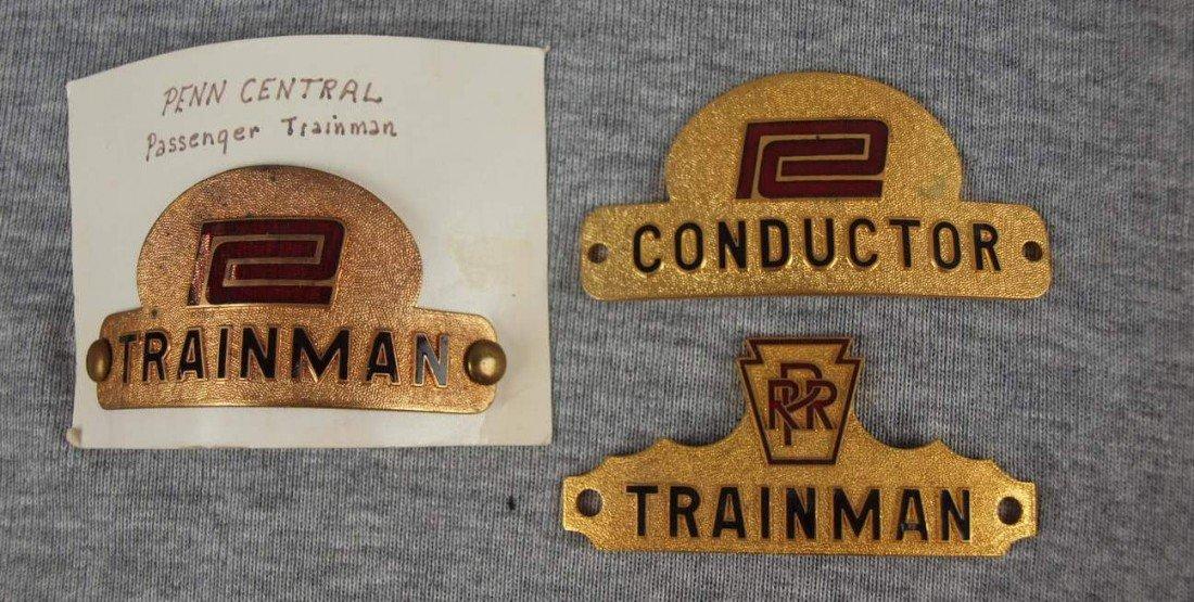 "14:  Lot of 3 railroad hat badges - ""Penn Central Train"