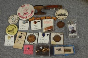 18: Lot of 20 assorted railroad pins and souveniers