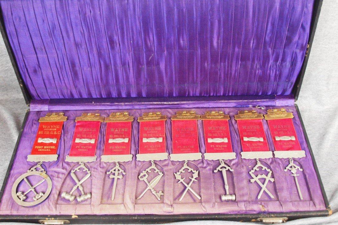 "19:  Set of 8 Brotherhood lodge ribbons, ""Wayne Divisio"