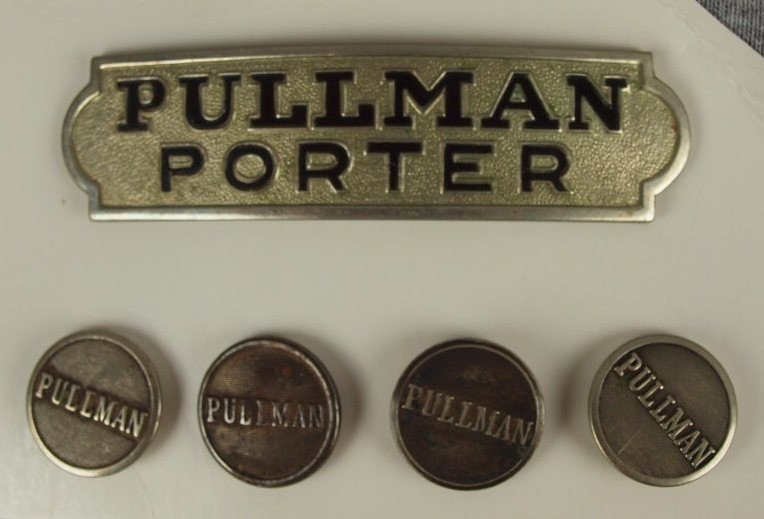 """23:  """"Pullman Porter"""" hat badge and 4 buttons"""