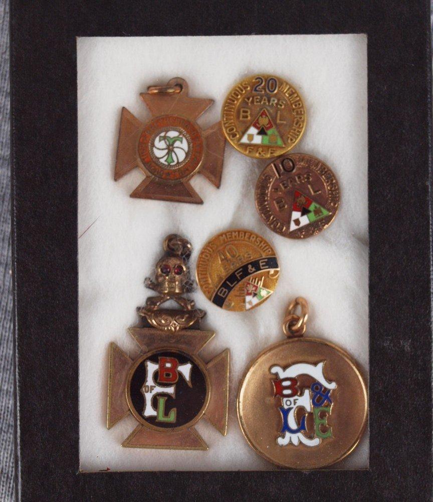 24: Lot of 6 Brotherhood railroad pins