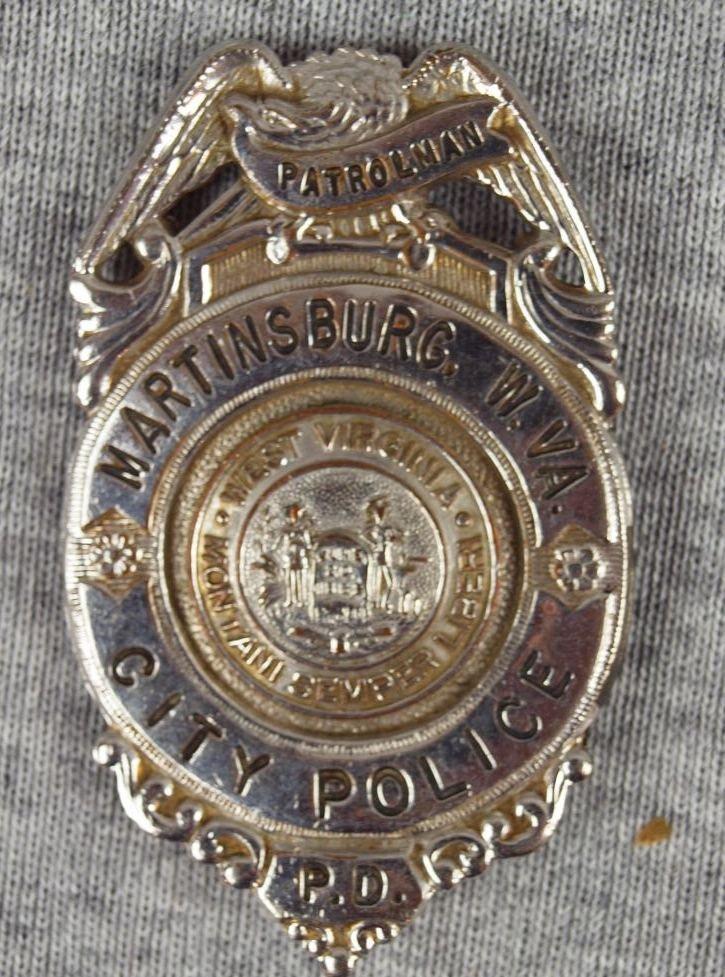 """27:  Police badge - """"Martinsburg, W. VA City Police Pat"""