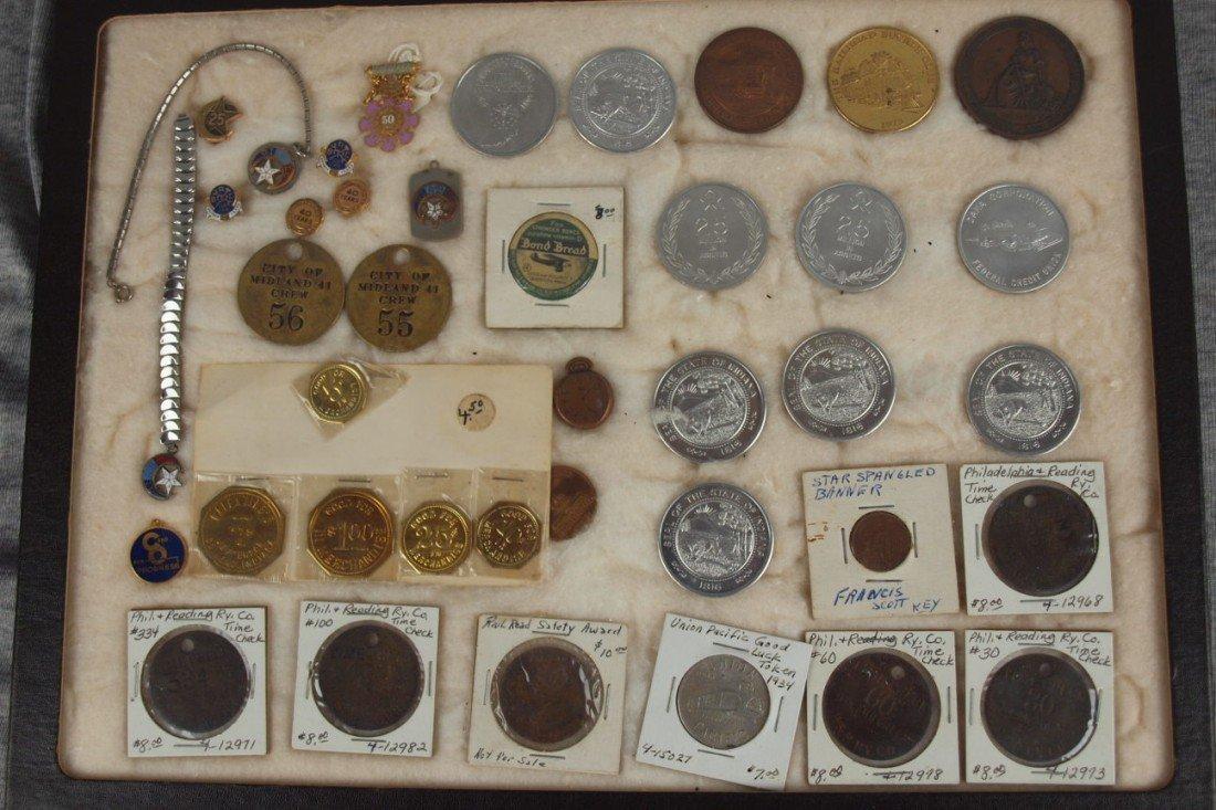 34: Railroad lot of Brotherhood pins and railroad token