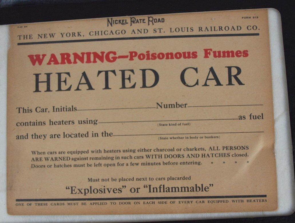 "36:  Nickel Plate Road sign ""Heated Car"" notice, cardbo"