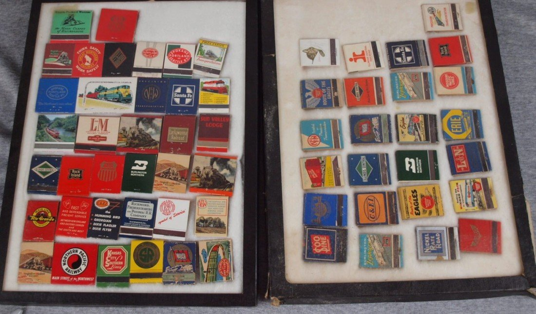 37: Large lot of match book covers with mostly railroad