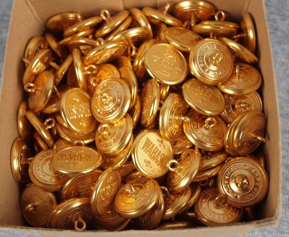39: Box of 200+/- Wabash railroad uniform buttons