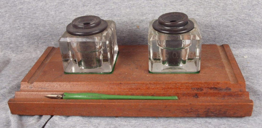 57: Railroad desk set with 2 glass inkwells etched B&OR