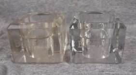 Lot Of 2 Glass Inkwells, No Inserts, Etched B&ORR