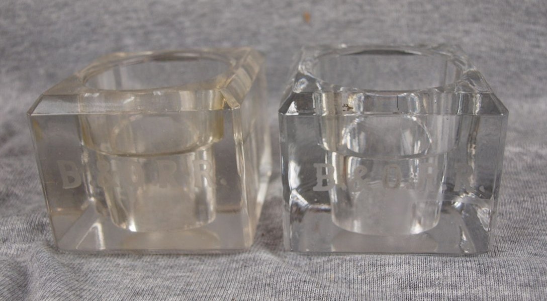 58:  Lot of 2 glass inkwells, no inserts, etched B&ORR