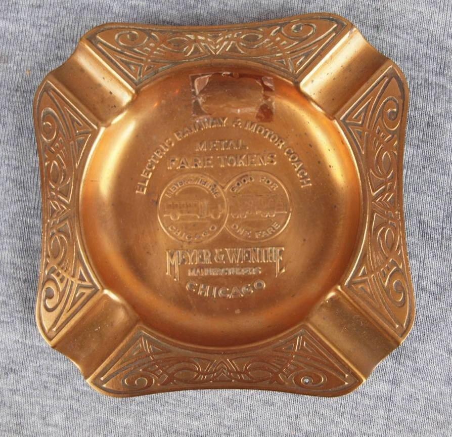 "59:  Brass advertising ashtray ""Electric Railway & Moto"