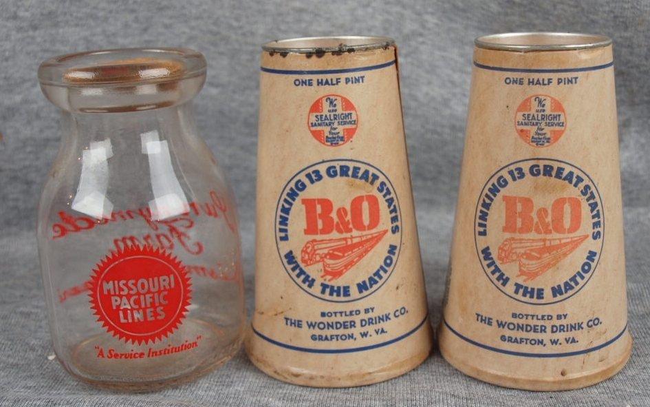 60: Missouri Pacific Lines milk bottle and 2 B&ORR oran