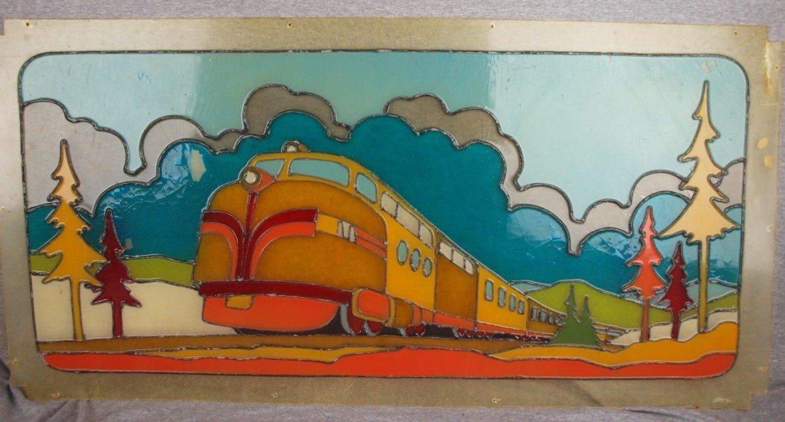 61:  Fibreglass window of train, looks like leaded glas