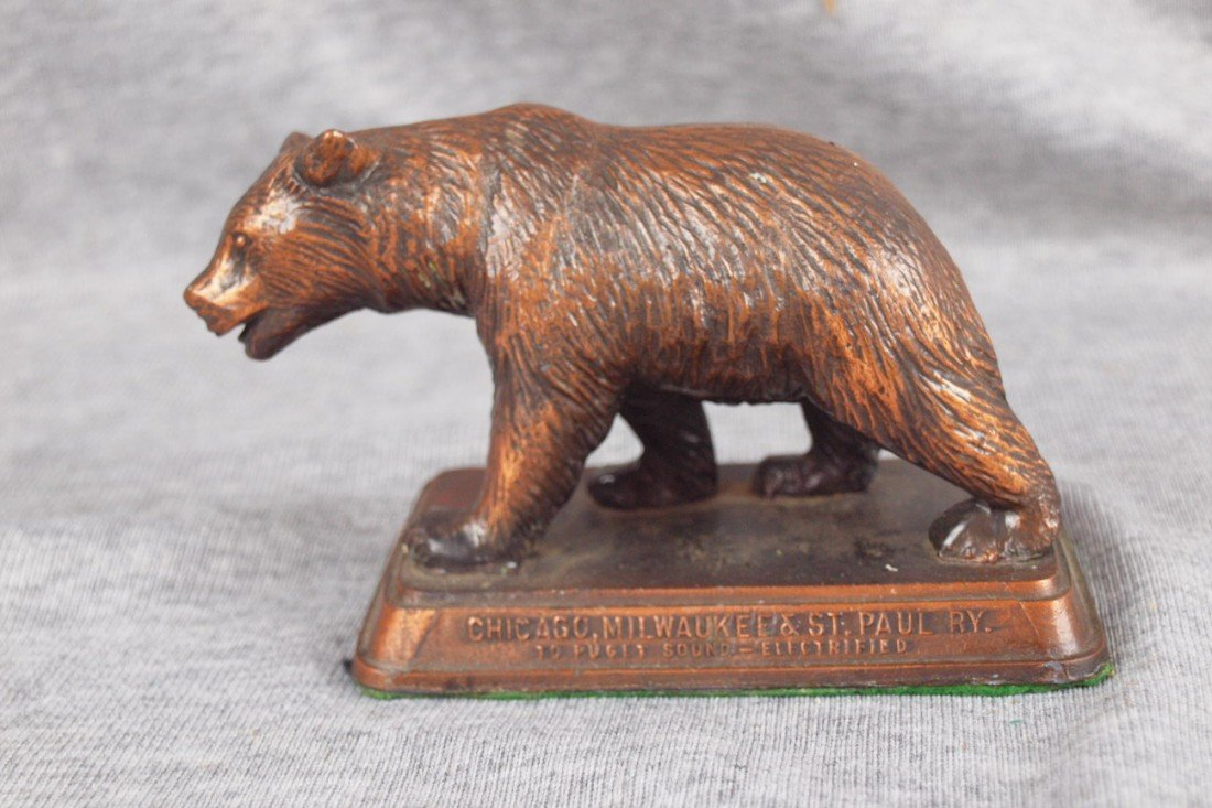 66:  CMS&PRY desk paperweight in the form of a bear, br