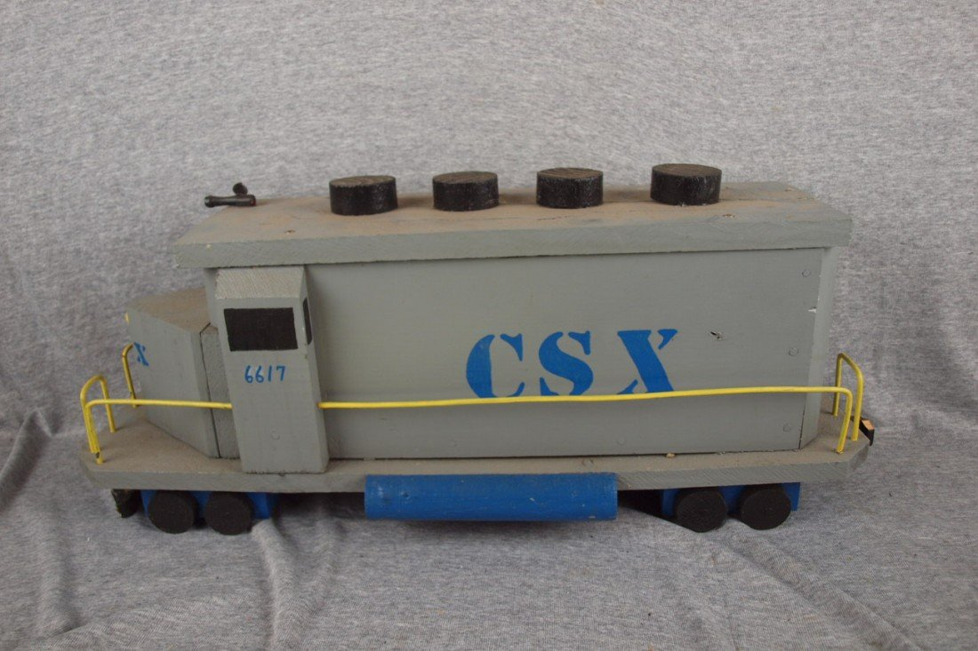 "105:  Wooden handmade CSX railroad engine, 24""l"