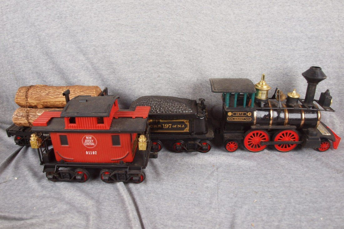 116: Jim Beam 4 piece train whiskey bottle decanter set