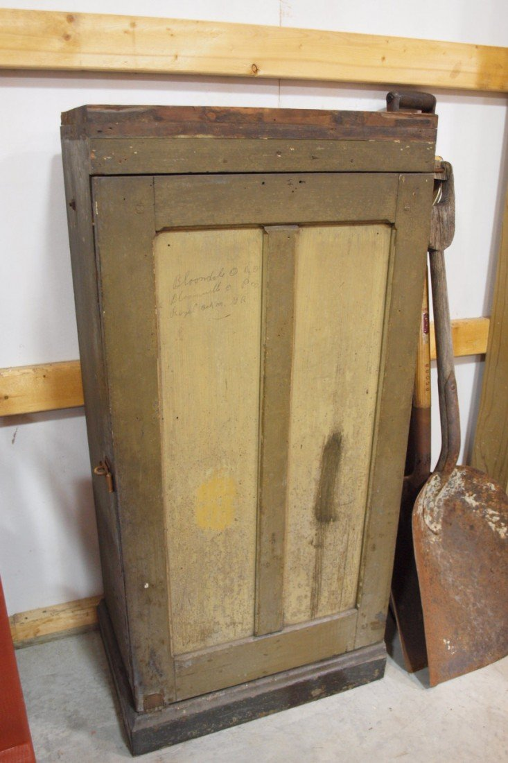 207:  Railroad station cabinet with fitted interior, or