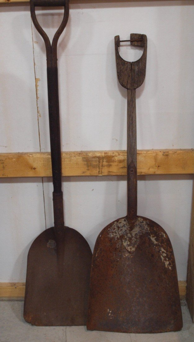 209:  B&ORR scoop shovel and another shovel, marked