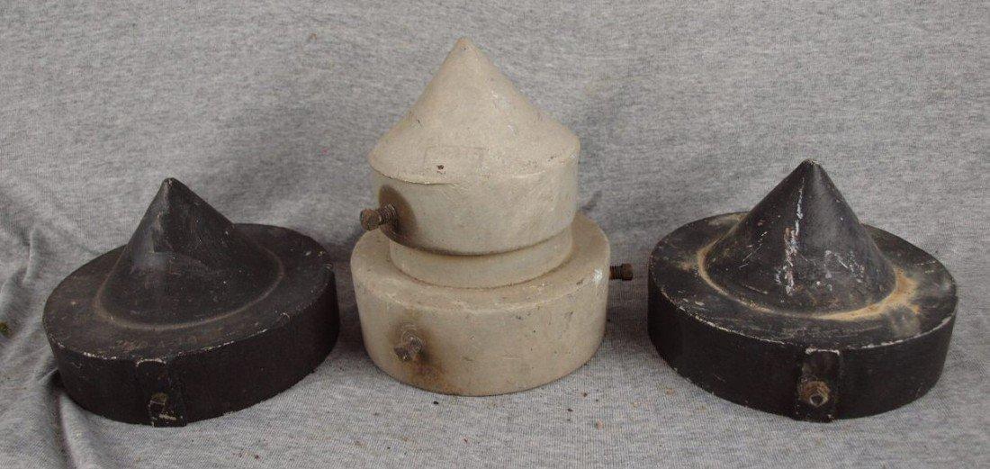 214A: Lot of 3 cast aluminum railroad post tops