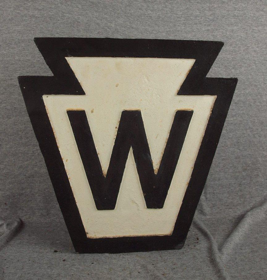 """216:  Cast iron railroad marker sign, """"W"""", 16"""" x 16"""""""