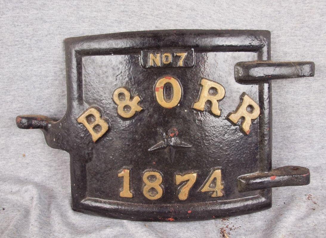 """217:  Cast iron B&ORR No. 7 1874 door, 16""""w, 9 1/2""""h"""