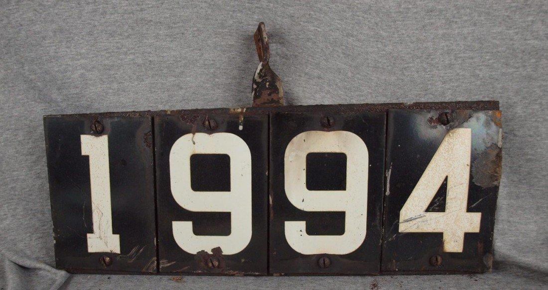 "219:  Porcelain railroad sign, ""1994"", losses to porcel"