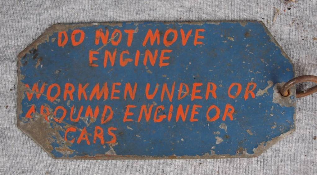 """220:  Railroad sign used in engine, handmake, """"Do Not M"""