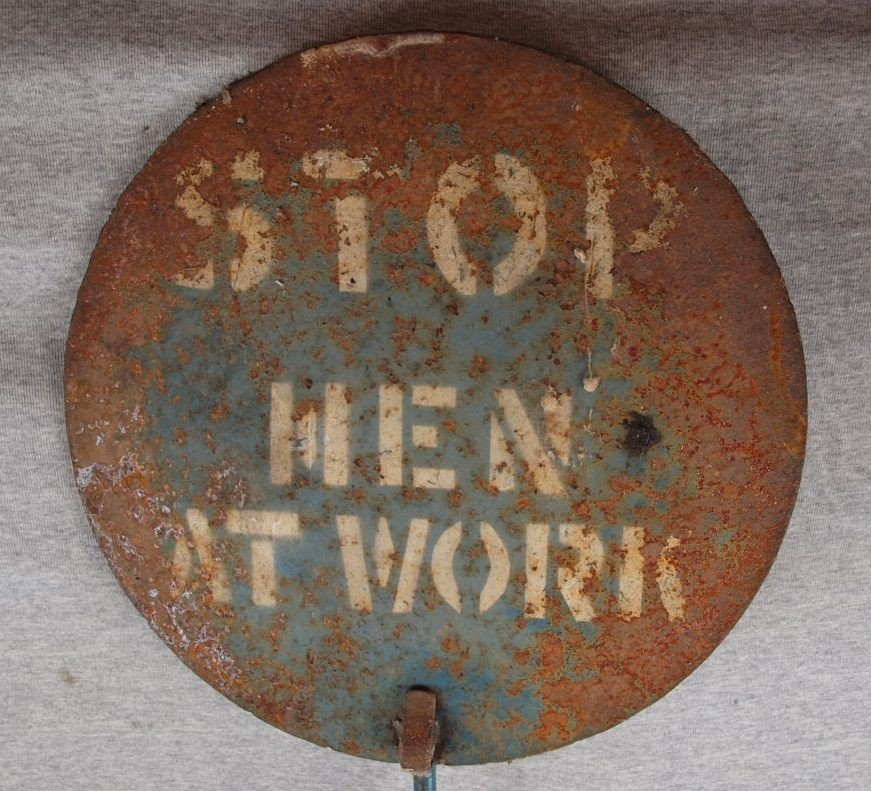 """222:  Cast iron sign on post - """"Stop Men At Work"""", 15""""d"""
