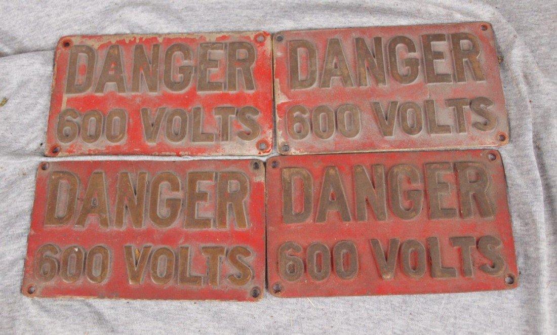 """224:  Lot of 4 cast brass signs """"Danger 600 Volts"""", 8 1"""