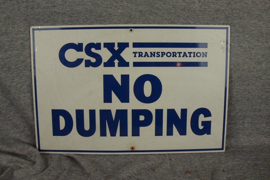 """227:  Railroad aluminum sign """"CSX No Dumping"""""""