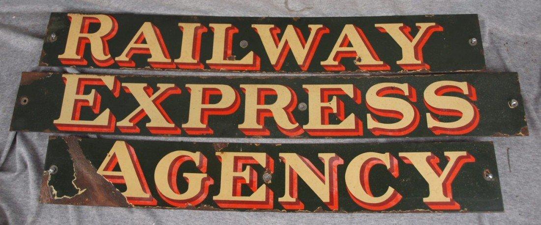"229:  Porcelain set of 3 railroad signs, ""Railway"" ""Exp"