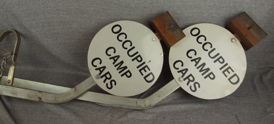 "233:  Pair of aluminum railroad arm signs ""Occupied Cam"