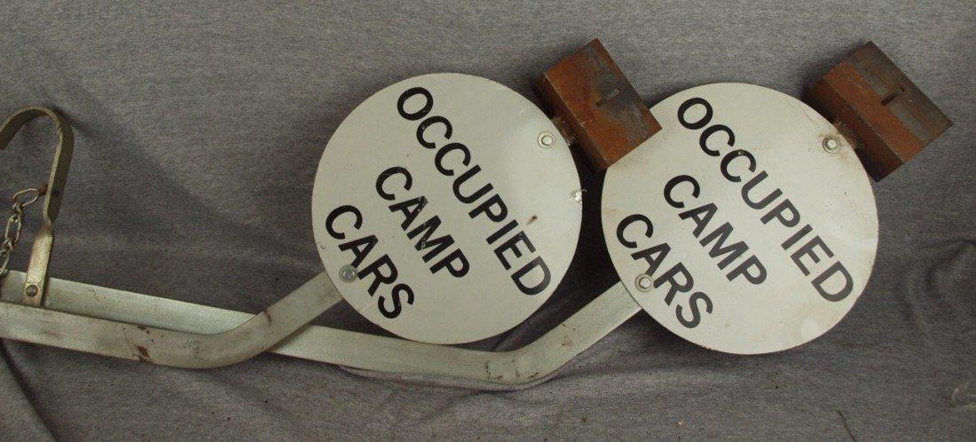 """233:  Pair of aluminum railroad arm signs """"Occupied Cam"""
