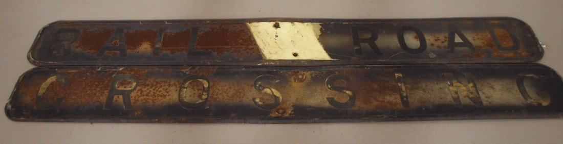 "236:  Heavy steel 2 piece crossing sign, 72"" x 9"""