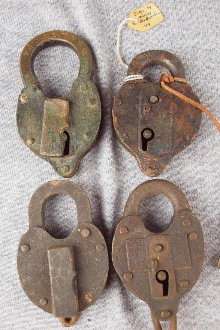 406:  Lot of 4 brass heart shape railroad locks, one wi